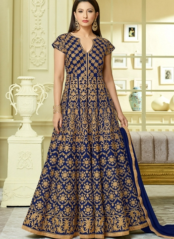 Gauhar Khan Royal Blue Tafetta Silk Embroidered Long Anarkali Suit - 12124