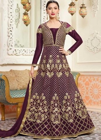 Gauhar Khan Purple Silk Floor Length Anarkali Suit - 12139