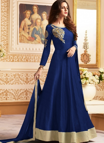 Navy Blue Bangalori Silk Long Anarkali Style Suit - 142c