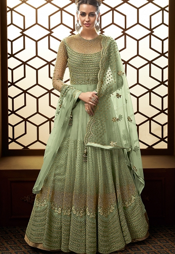 Green Net Embroidered Floor Length Anarkali Suit - 15007