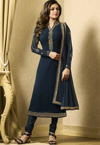 Drashti Dhami Blue Georgette Straight Churidar Suit - 1501