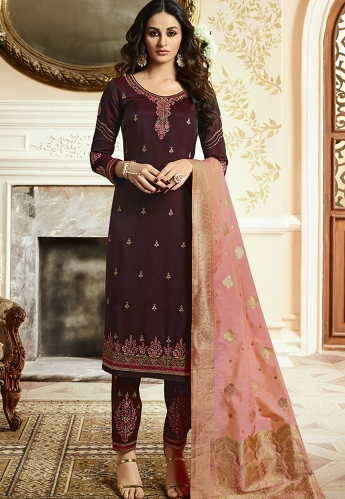 Purple Silk Straight Embroidered Trouser Suit - 15201