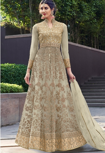 Pastel Green Net Heavy Embroidered Long Anarkali Suit - 1639