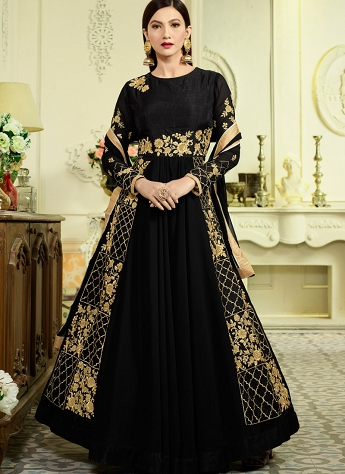 Gauhar Khan Black Georgette Floor length Anarkali Suit - 18031