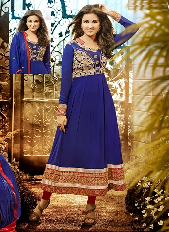 Parineeti Chopra Blue Georgette Bollywood Suit