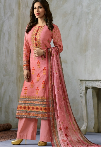 Sophie Choudry Pink Cotton Palazzo Style Suit - 212