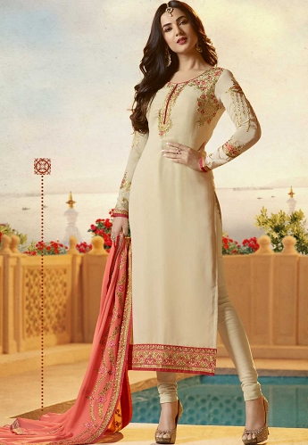 Sonal Chauhan Cream Georgette Straight Churidar Suit - 21953