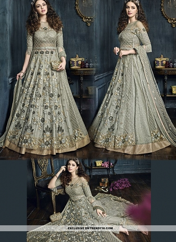 Grey Heavy Embroidered Lehenga & Trouser Anarkali Suit