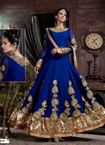 Impressive Blue Georgette Embroidered Wedding Suit