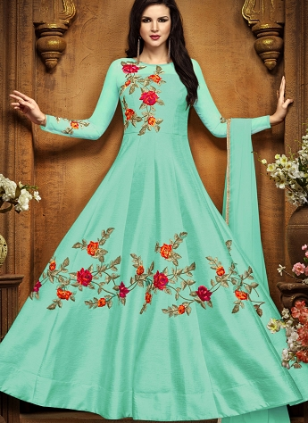 Sky Blue Tussar Silk Floor Length Anarkali Suit - 2496