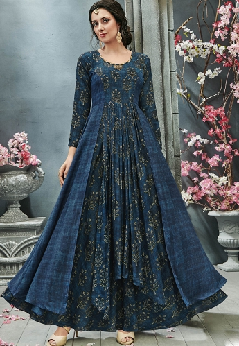 Blue Crepe Georgette Printed Readymade Gown - 27