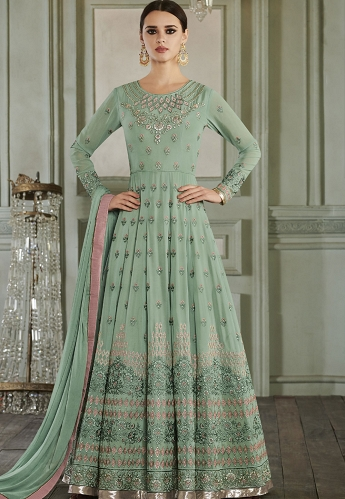 Sea Green Georgette Embroidered Anarkali Suit - 27012