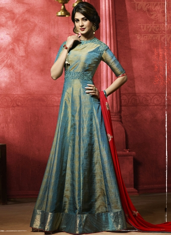Jennifer Winget Teal Blue Banarasi Silk Floor Length Anarkali Suit