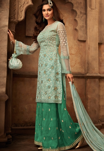 Blue & Green Georgette Satin Embroidered Sharara Style Pakistani Suit - 29002