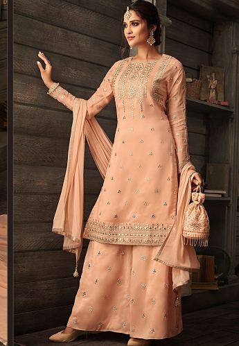 Peach Georgette Embroidered Palazzo Style Suit - 30007