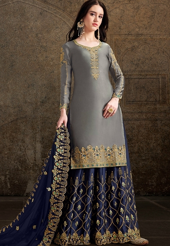 Grey & Blue Satin Embroidered Palazzo Suit - 30039
