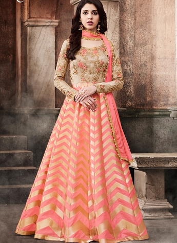 Elegant Peach & Beige Dupion Brocade Floor Length Anarkali Suit - 3071