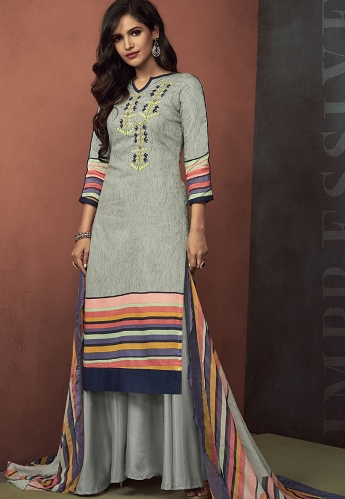 Grey Cotton Palazzo Style Suit - 3102