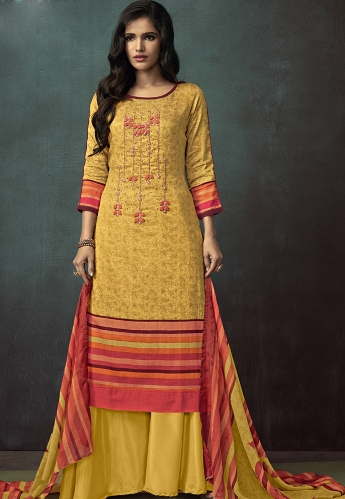 Yellow Cotton Palazzo Style Suit - 3108
