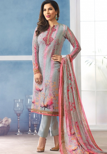 Sophie Choudry Grey Georgette Straight Trouser Suit - 310A