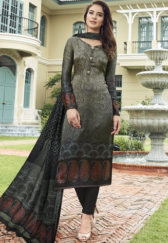 Multi Color Satin Printed Trouser Style Suit - 3706