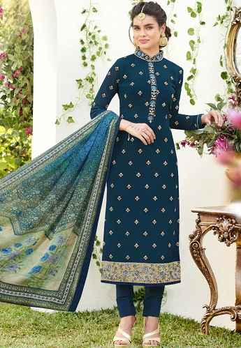 Dark Blue Georgette Pant Style Pakistani Suit - 384