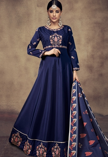 Navy Blue Tapeta And Satin Silk Embroidered Readymade Anarkali Gown - 39015