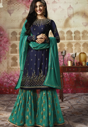 Navy Blue Georgette Sharara Style Pakistani Suit - 4011