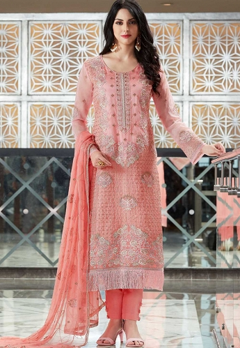 Pink Organza Embroidered Trouser Style Suit - 405