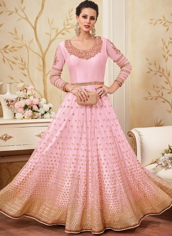 Pink Net Satin Embroidered Floor Length Anarkali Suit - 4300