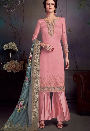 Pink Satin Georgette Straight Embroidered Trouser Suit - 4542