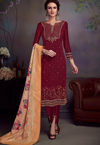 Maroon Satin Georgette Straight Embroidered Trouser Suit - 4546