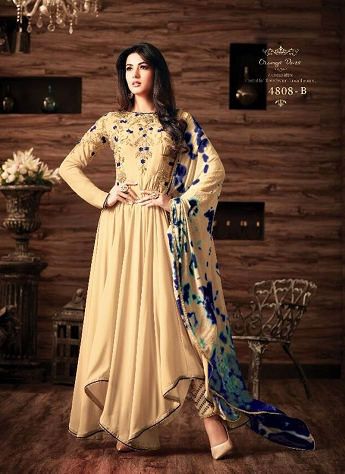 Sonal Chauhan Beige Georgette Pant Style Suit