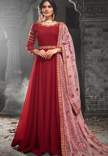 Red Georgette Floor Length Gown Style Suit - 49003