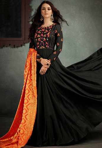 Black Rayon Cotton Floor Length Embroidered Gown - 5004