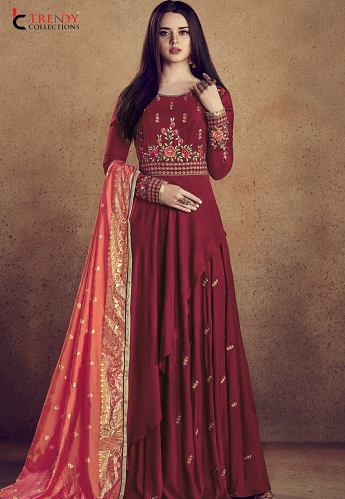 Maroon Rayon Ready Made Anarkali Gown Style Suit - 5009C