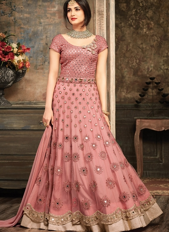 Sonal Chauhan Pink Shade Net Layered Long Anarkali Suit - 5102A