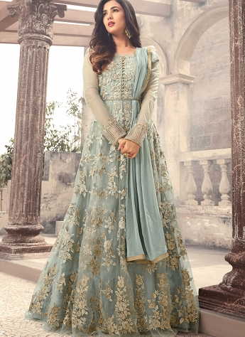 Sonal Chauhan Grey Net Floor Length Anarkali Suit - 5202