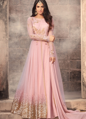 Sonal Chauhan Pink Net Floor Length Anarkali Suit - 5203