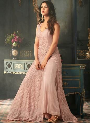 Sonal Chauhan Pink Net Satin Palazzo Style Suit - 5301