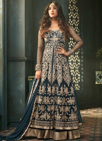 Sonal Chauhan Marine Blue Net Embroidered Anarkali Suit - 5305