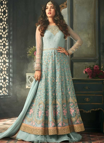Sonal Chauhan Sky Blue Net Center Slit Trouser & Lehenga Style Suit - 5307