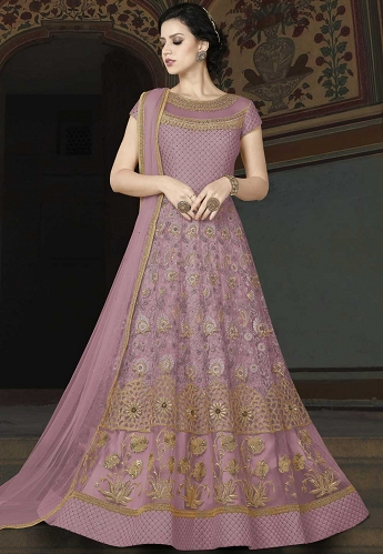 Move Net Embroidered Floor Length Anarkali Suit - 5403A