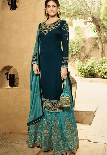 Blue Satin Georgette Sharara Style Suit - 5405