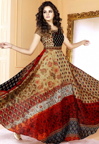 Multi Color Tussar Silk Printed Readymade Gown - 5509