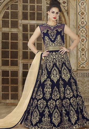 Navy Blue Velvet Floor Length Embroidered Anarkali Suit - 5611