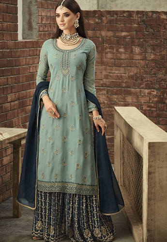 Blue Georgette Sharara Style Suit - 57002