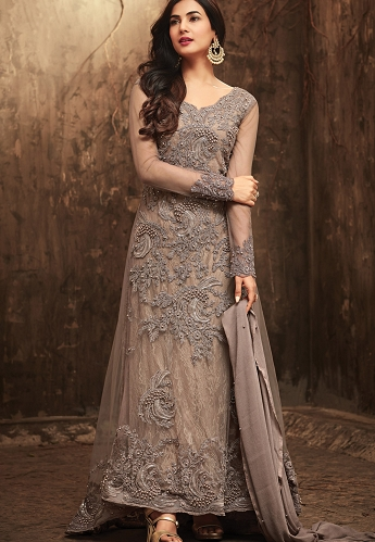 Sonal Chauhan Grey Net Embroidered Designer Suit - 5703