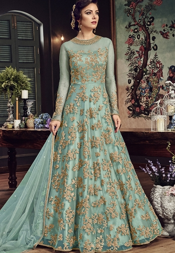 Sky Blue Net Embroidered Floor Length Anarkali Suit - 5807C