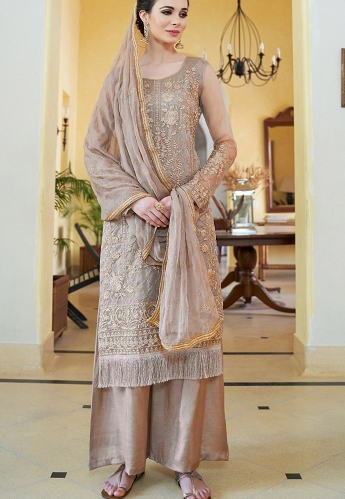 Steal Grey Organza Embroidered Palazzo Style Pakistani Suit - 591